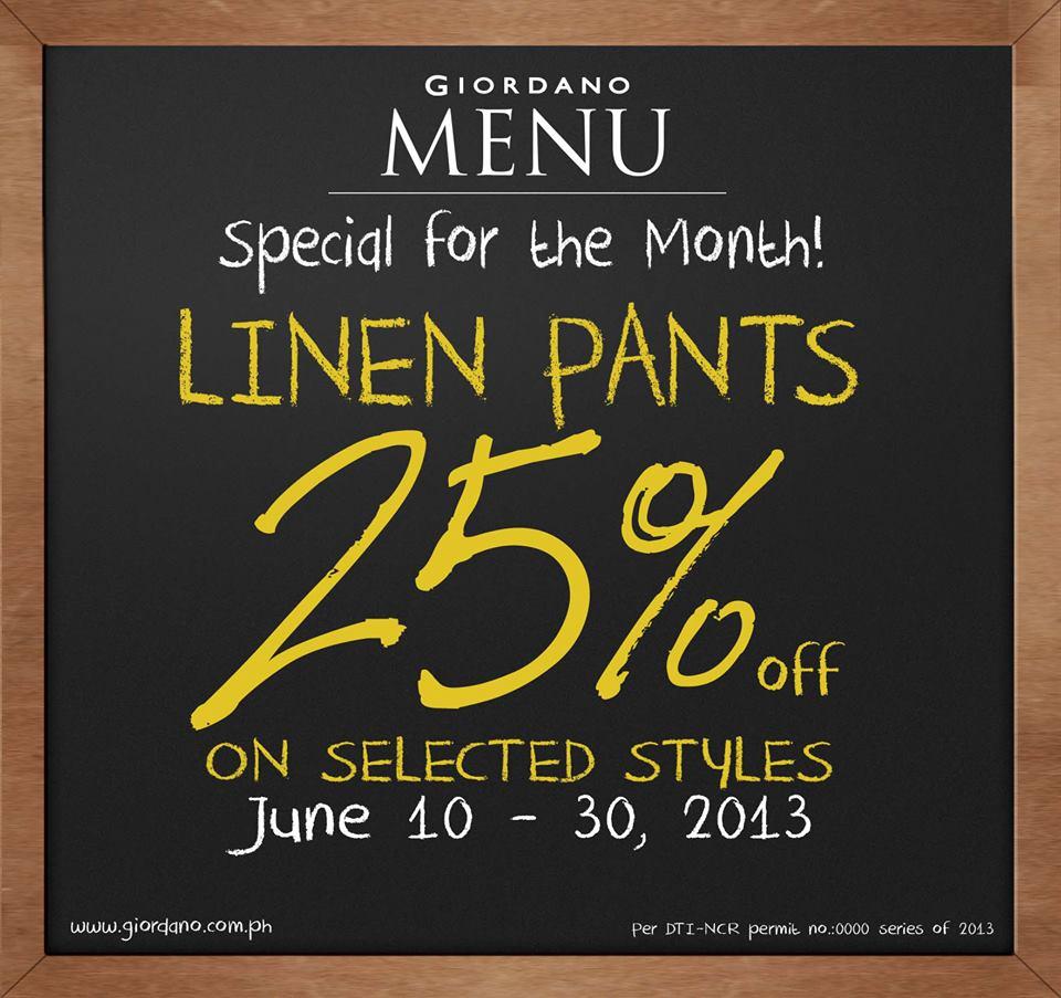 Giordano Linen Pants Sale June 2013