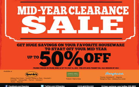 Gourdo's, Living Well, Sleepcare Mid-Year Clearance Sale June - July 2013