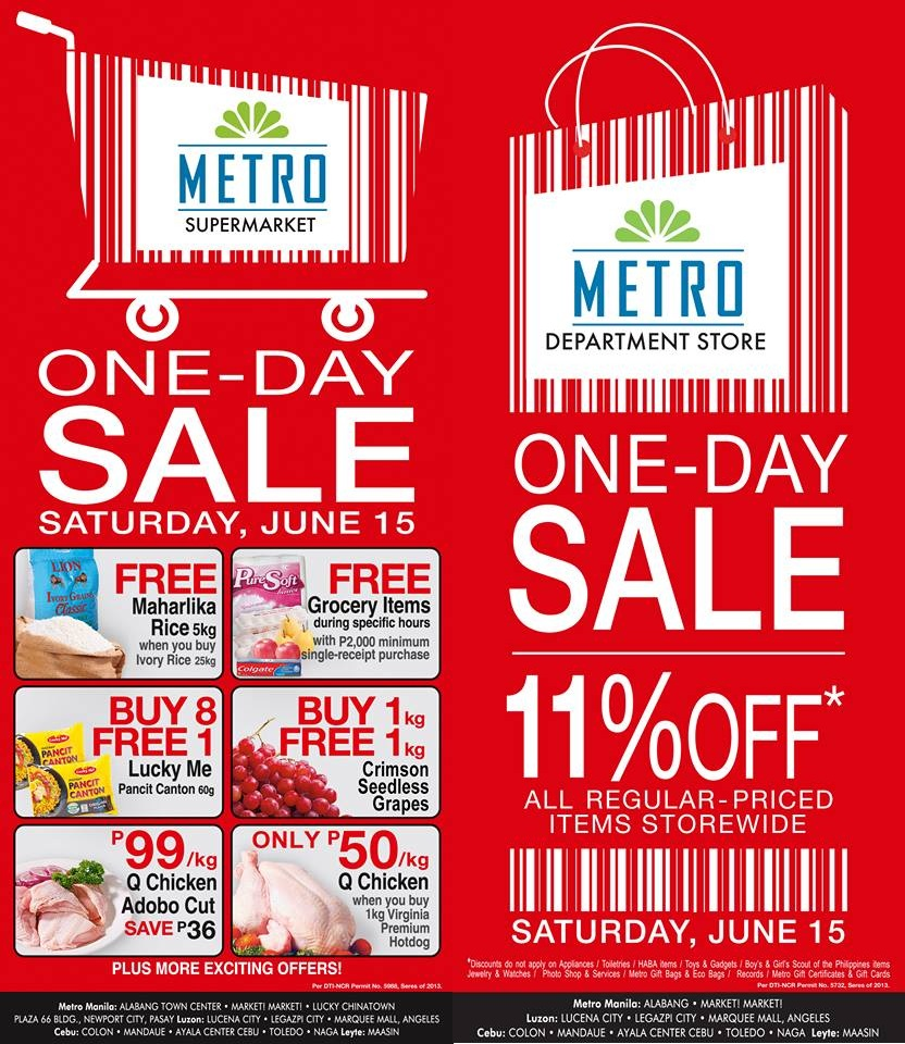 Metro Department Store & Supermarket One-Day Sale June 2013