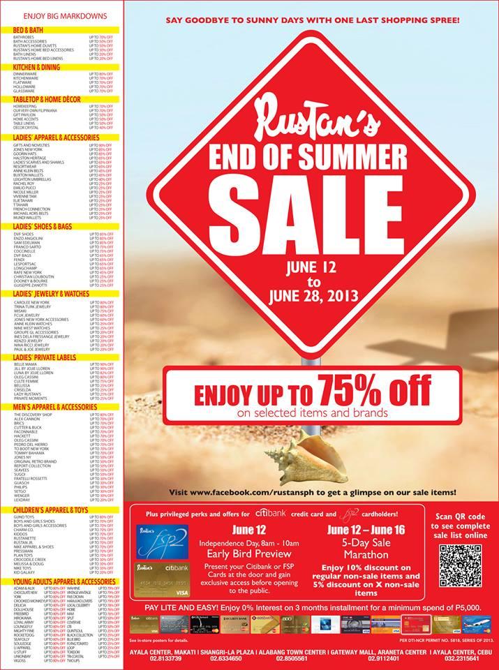 Rustan's End of Summer Sale June 2013