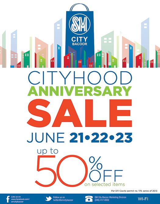 SM City Bacoor Cityhood Anniversary Sale June 2013