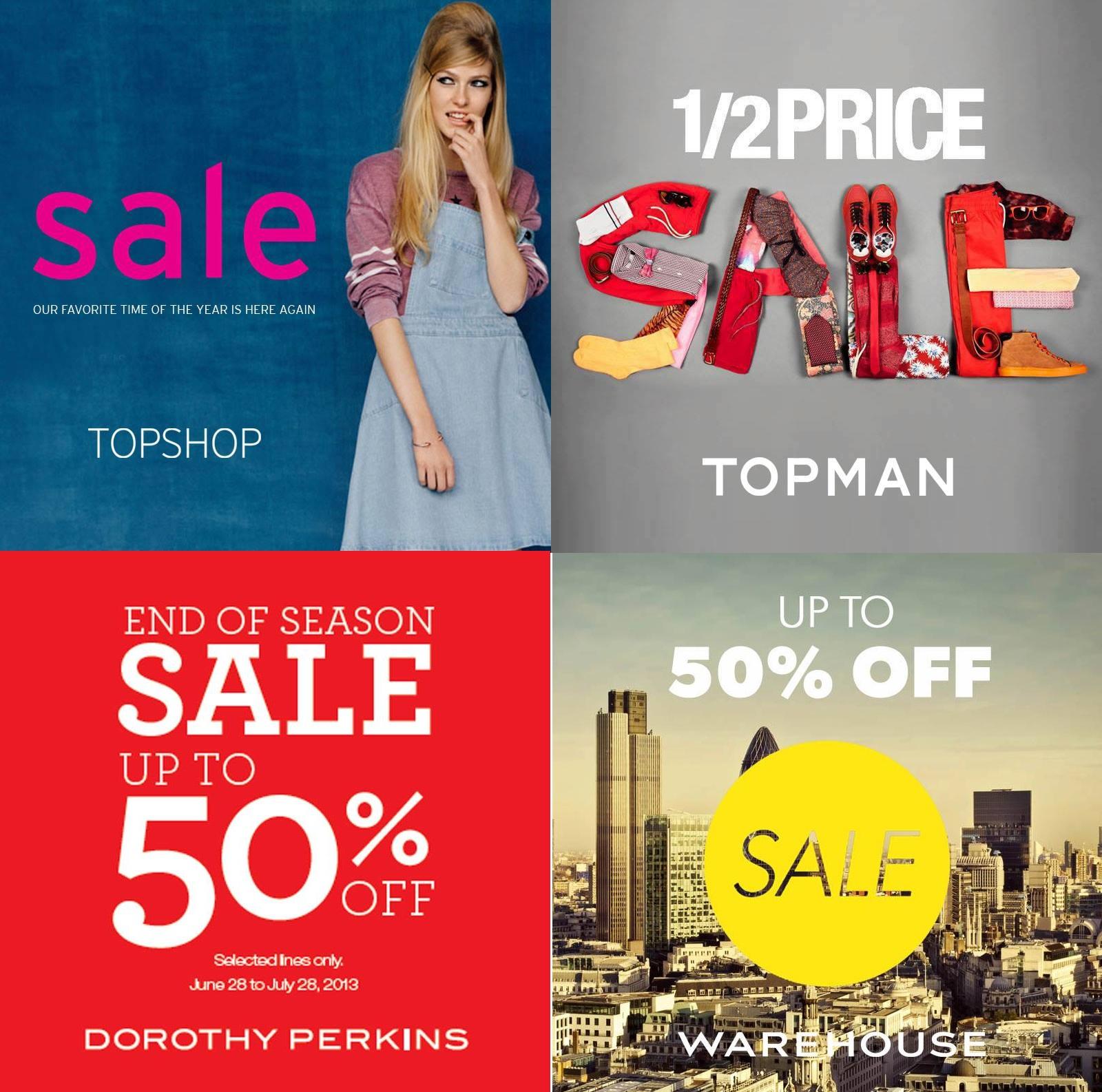 cc801931730ad Topshop Topman Dorothy Perkins Warehouse End of Season Sale June - July 2013