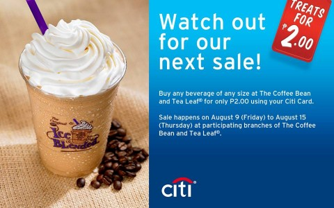 Citibank Php 2 Treat - The Coffee Bean and Tea Leaf Beverages August 2013