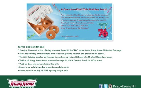 Krispy Kreme 76th Birthday Treat July 2013