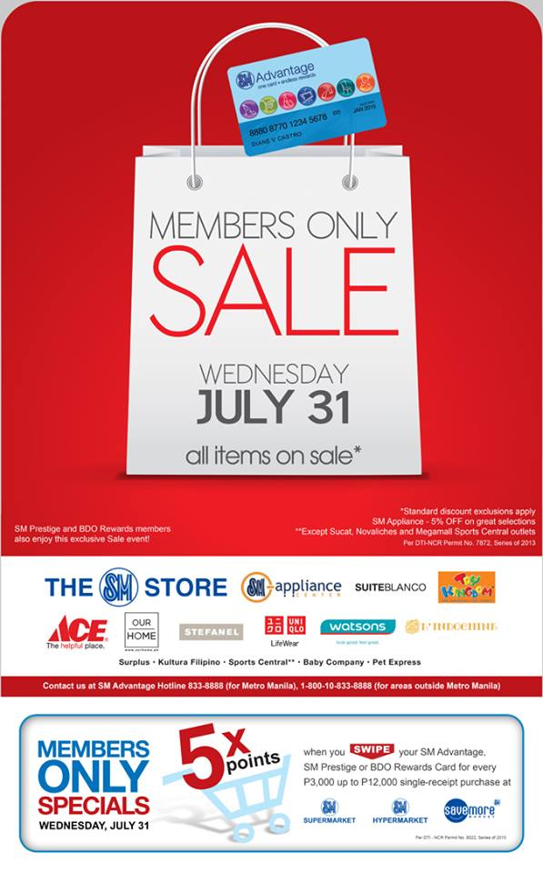 SMAC, SM Prestige, BDO Rewards Members Only Sale July 2013