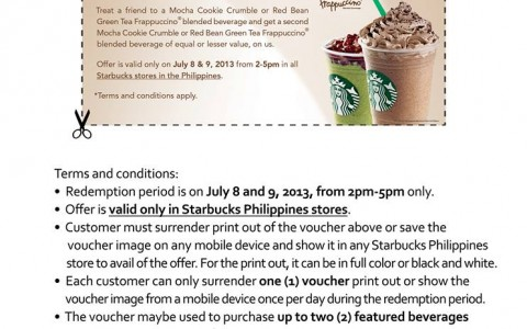Starbucks Frapuccino Treat For Two July 2013
