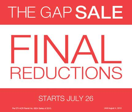 The Gap Sale (Final Reductions) July - August 2013
