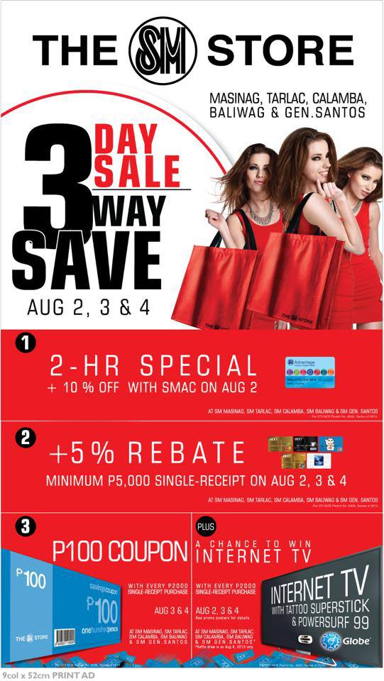 The SM Store (Masinag, Tarlac, Calamba, Baliwag, General Santos) 3-Day Sale August 2013