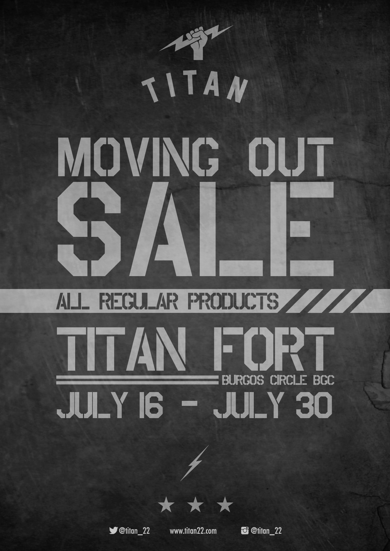 Titan Burgos Circle Moving Out Sale: July 16 – 30, 2013