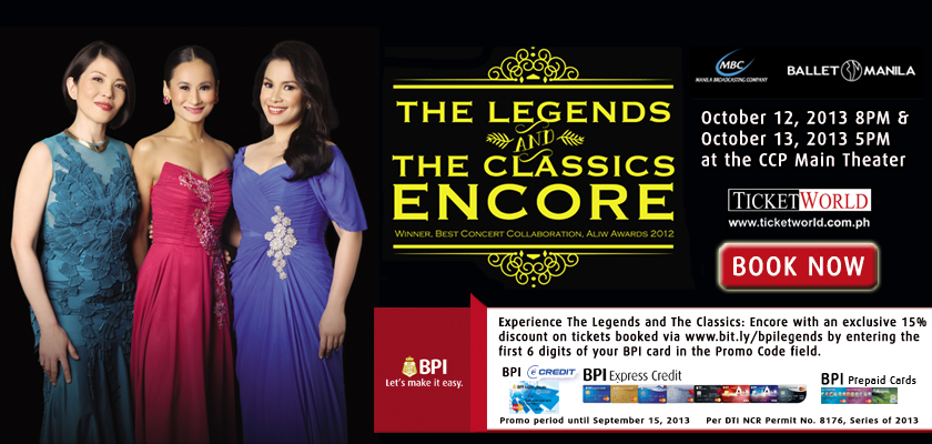 BPI Promo: 15% off on The Legends & The Classics via Ticketworld August - September 2013