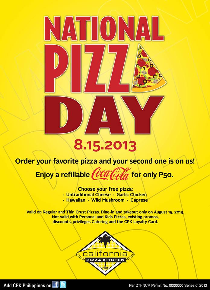 California Pizza Kitchen National Pizza Day August 2013