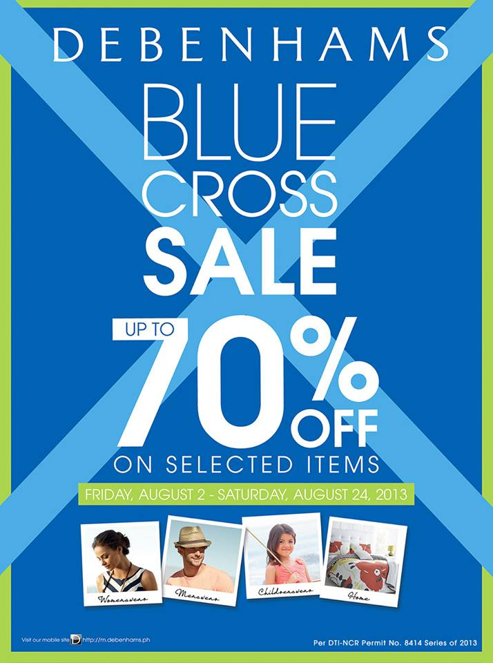 Debenhams Blue Cross Sale August 2013