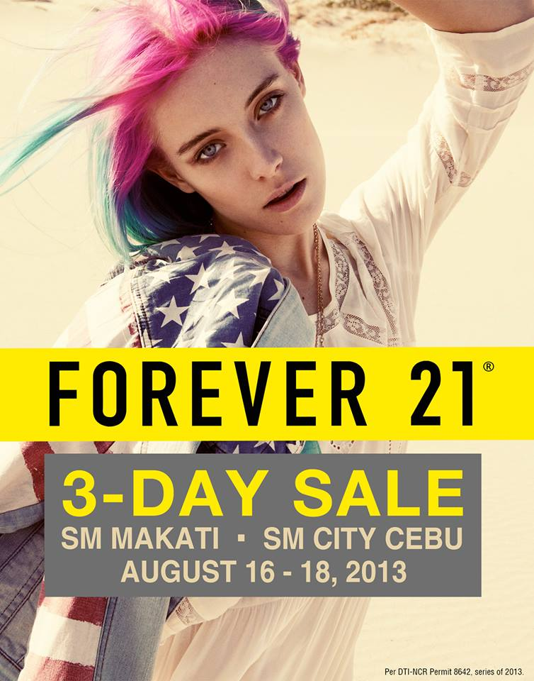 Forever 21 3-Day Sale @ SM Makati & SM City Cebu August 2013