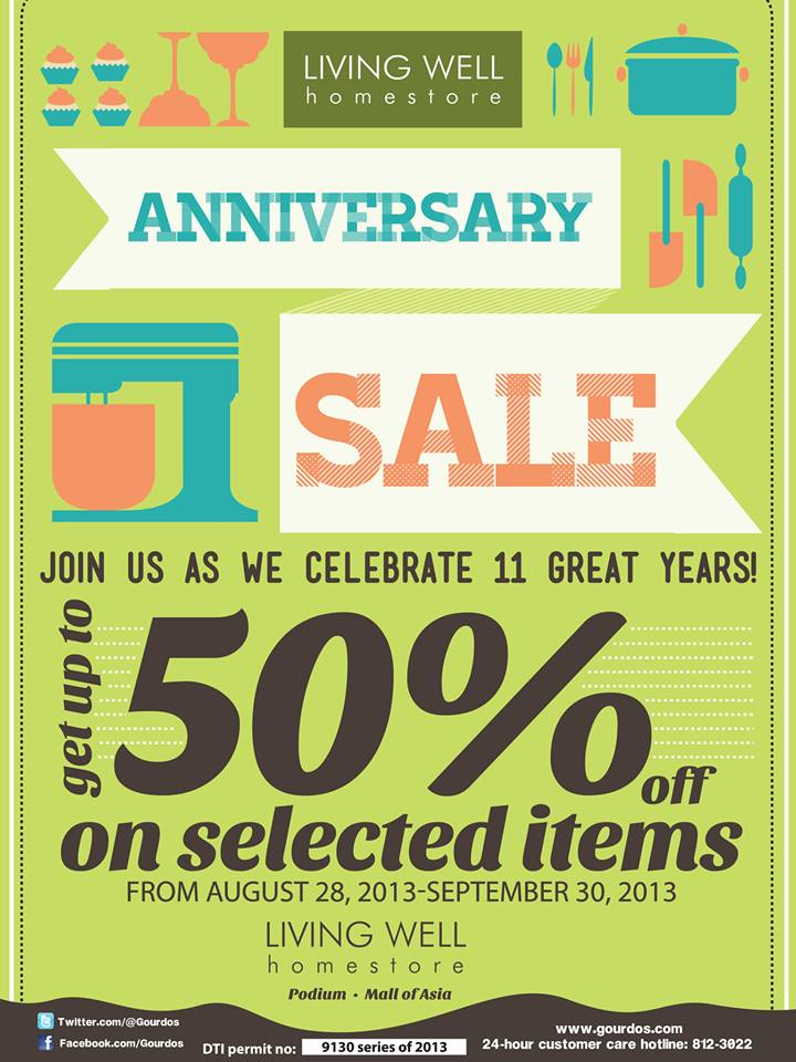 Living Well Anniversary Sale August - September 2013