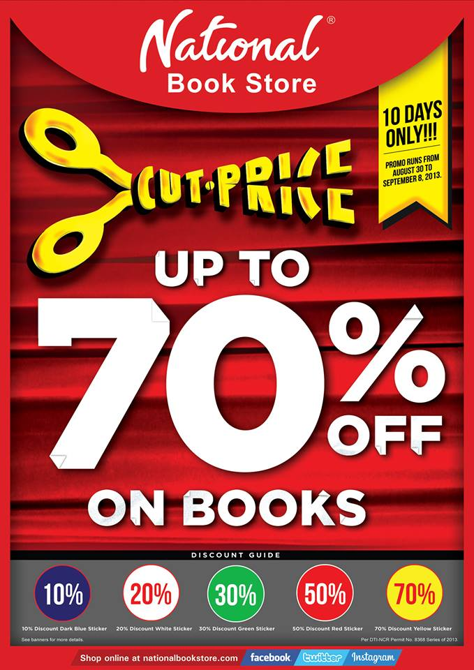 National Book Store Cut Price Sale August - September 2013