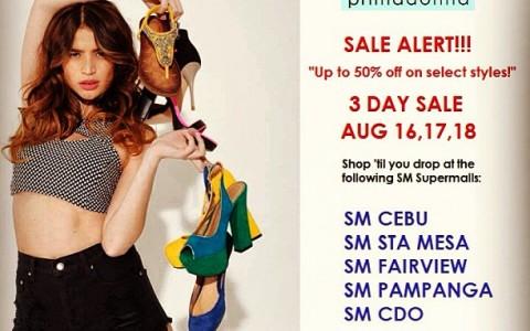 Primadonna Shoes 3-Day Sale @ SM Supermalls (Cebu, Sta Mesa, Fairview, Pampanga, CDO) August 2013
