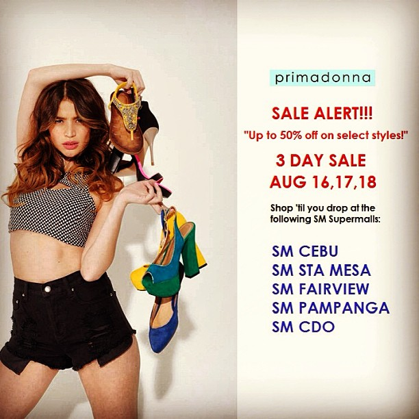 Primadonna Shoes 3-Day Sale @ SM Supermalls (Cebu, Sta Mesa, Fairview, Pampanga, CDO) August 2013
