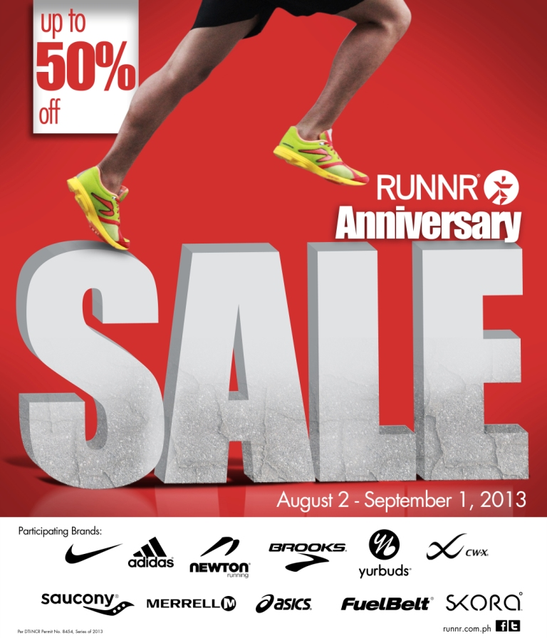 Runnr Anniversary Sale August  - September 2013