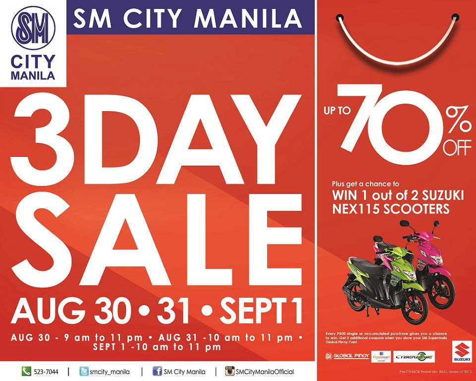 SM City Manila 3-Day Sale August - September 2013