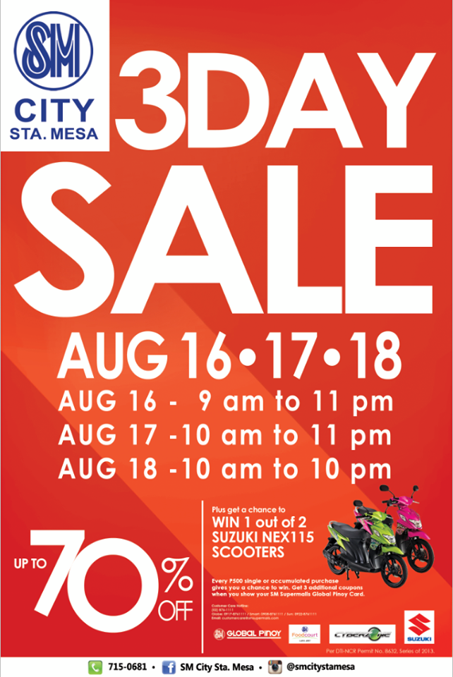 SM City Sta. Mesa 3-Day Sale August 2013