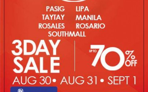 SM Supermalls (Pasig, Lipa, Taytay, Manila, Rosales, Rosario, Southmall) 3-Day Sale August - September 2013