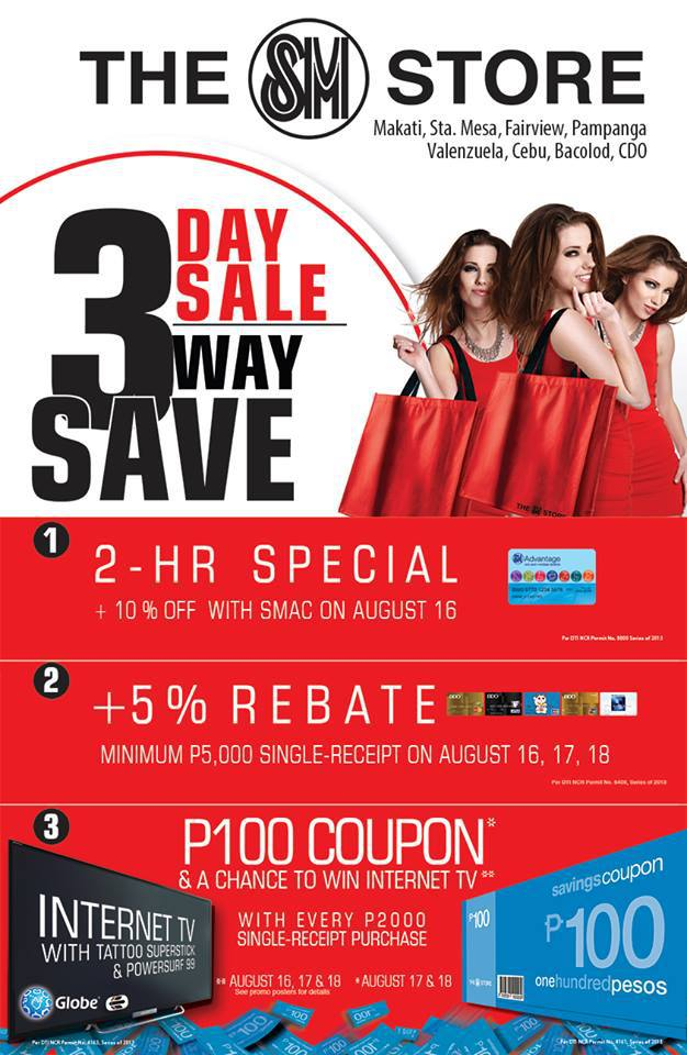 The SM Store (Makati, Sta. Mesa, Fairview, Pampanga, Valenzuela, Cebu, Bacolod, CDO) 3-Day Sale August 2013