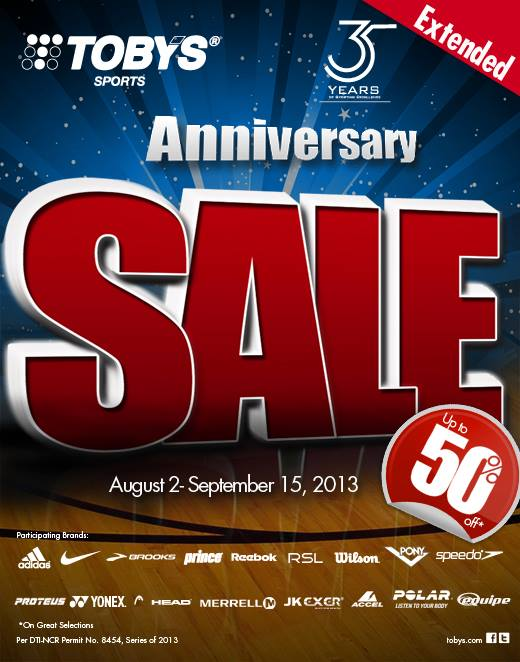 Tobys Sports Anniversary Sale August - September 2013