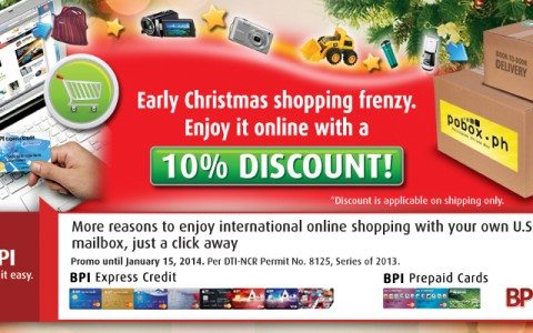 BPI promo: 10% discount on shipping rates via POBox.ph September 2013 - January 2014
