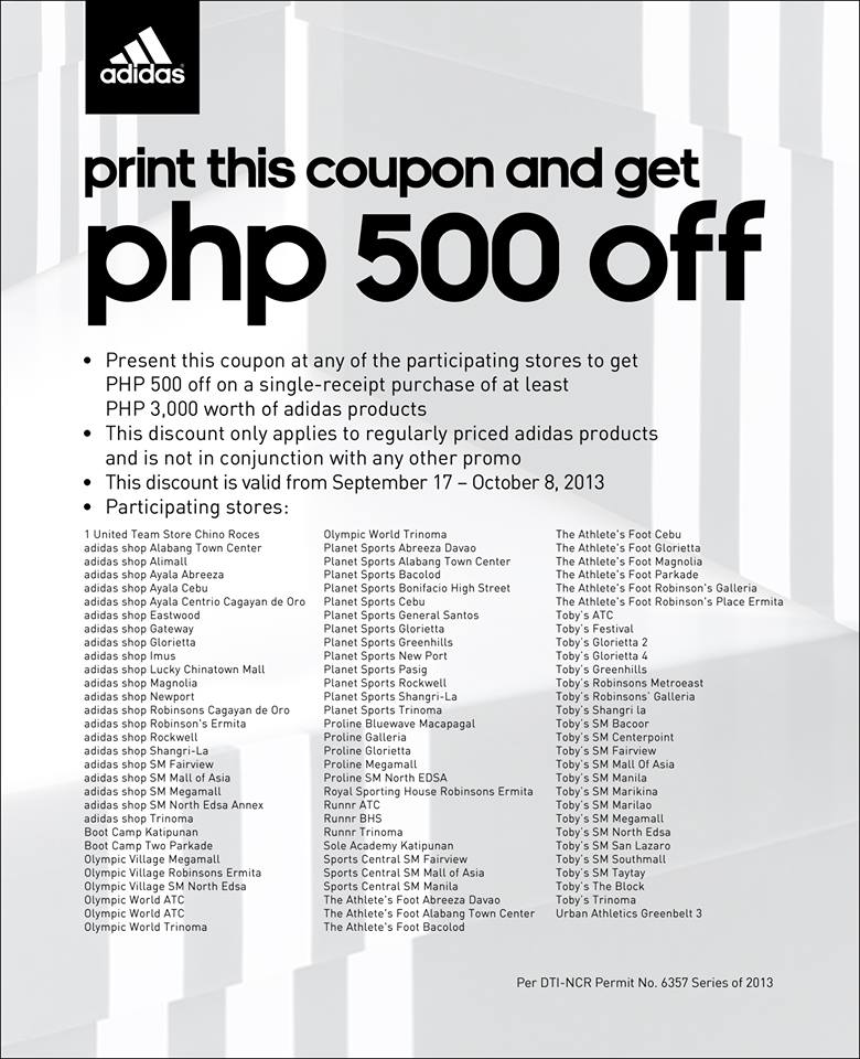 Adidas Php 500 Off Coupon September - October 2013