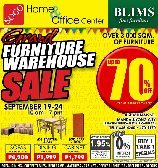 BLIMS & SOGO Grand Furniture Warehouse Sale September 2013