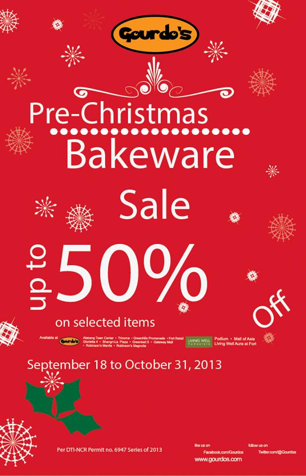 Gourdo's Pre-Christmas Bakeware Sale September - October 2013
