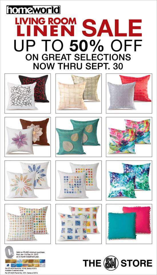 Homeworld Living Room Linen Sale September 2013