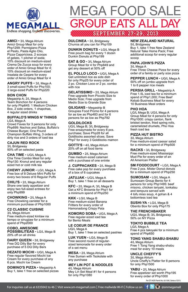 Mega Food Sale Participating Restaurants September 2013