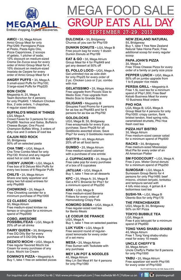 Mega Food Sale Participating Restaurants September 2013