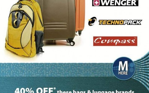 Metrobank Promo: 40% off on bags & luggages at The SM Store September - October 2013
