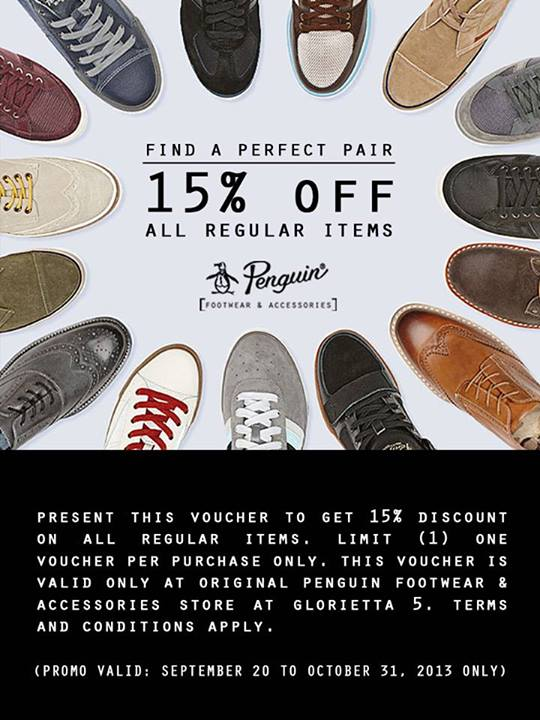 Original Penguin Footwear & Accessories Digital Discount Coupon September - October 2013