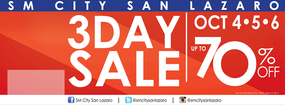 SM City San Lazaro 3-Day Sale October 2013