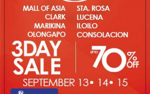 SM Supermalls (SM Mall of Asia, Marikina, Clark, Iloilo, Lucena, Olongapo, Consolacion & Sta. Rosa) 3-Day Sale September 2013