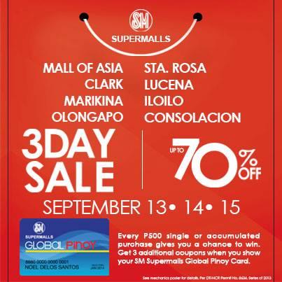 SM Supermalls (SM Mall of Asia, Marikina, Clark, Iloilo, Lucena, Olongapo, Consolacion & Sta. Rosa) 3-Day Sale September 2013