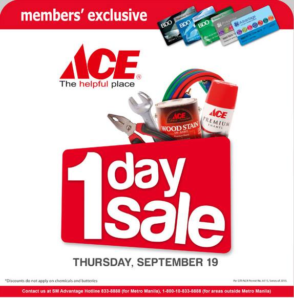 SMAC Members' Exclusive Sale @ Ace Hardware September 2013