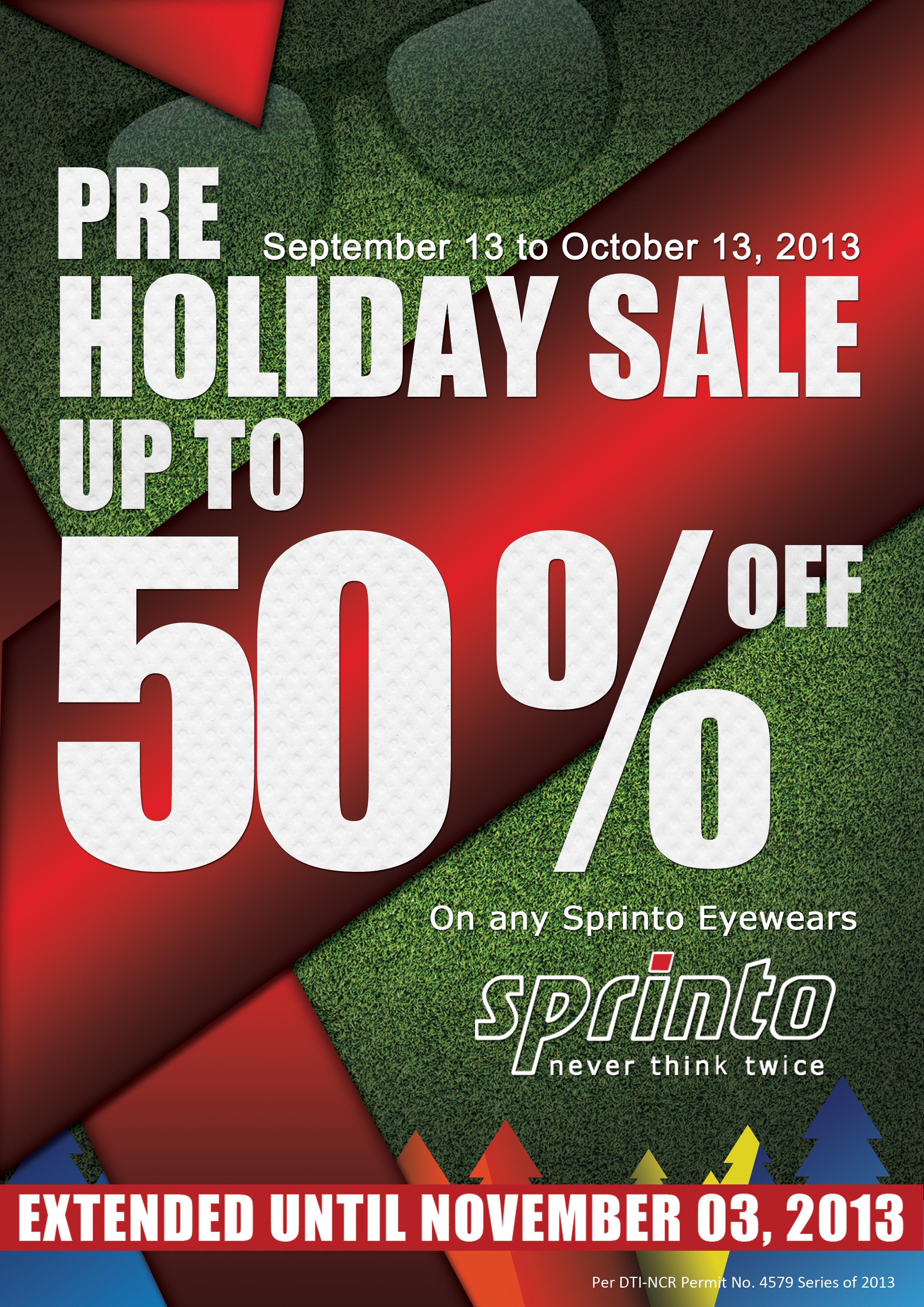 Sprinto Pre-Holiday Sale September - November 2013