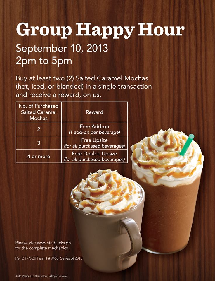 Starbucks Group Happy Hour Promo September 2013