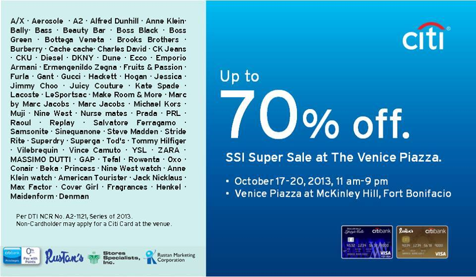 Citibank SSI Super Sale October 2013