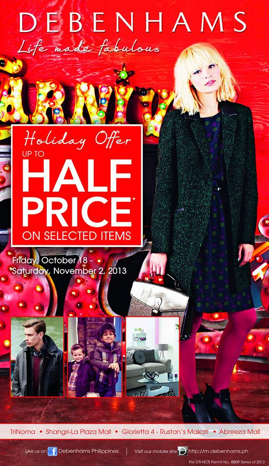 Debenhams Holiday Offer Sale October - November 2013