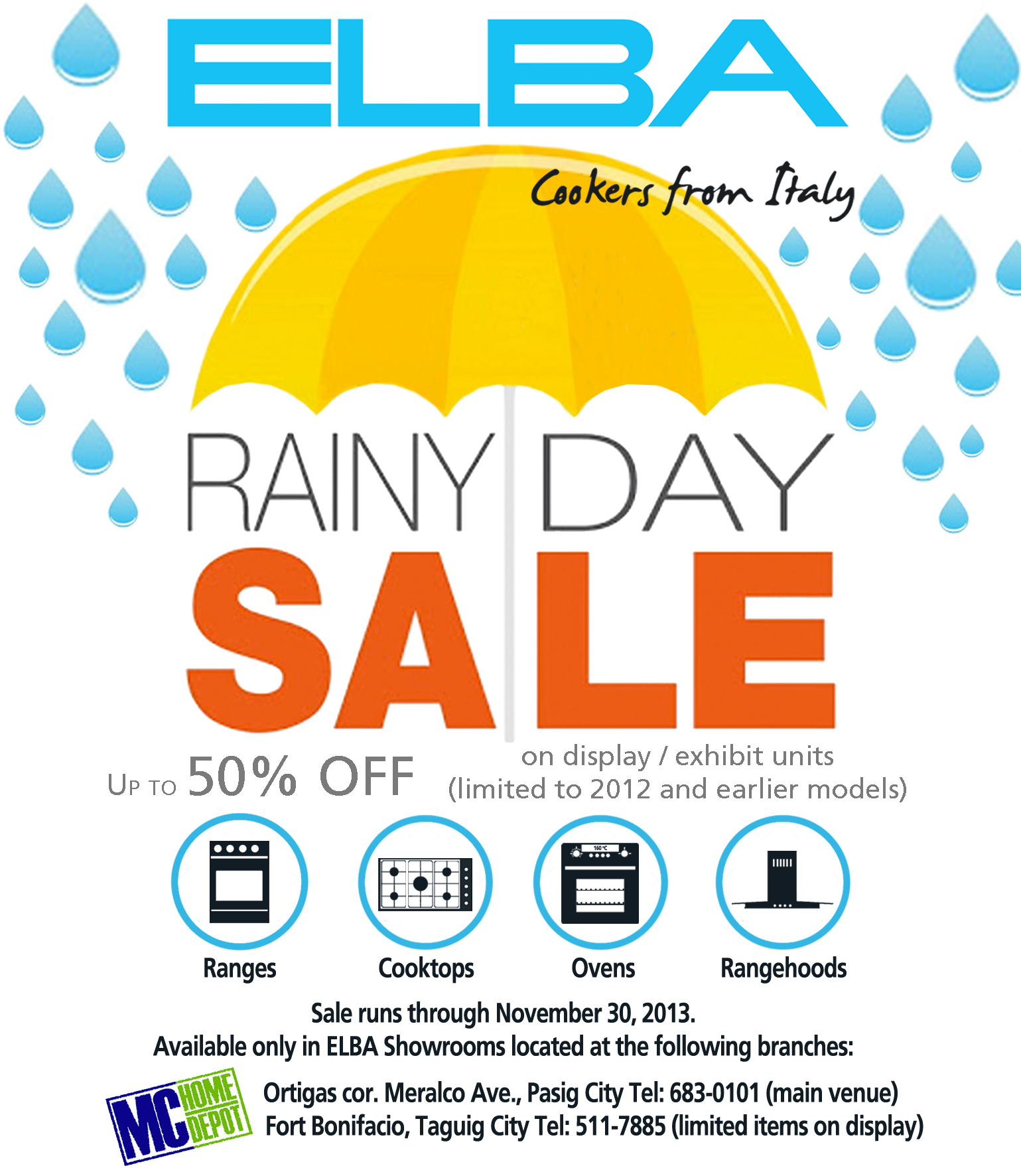 ELBA Rainy Day Sale @ MC Home Depot October - November 2013