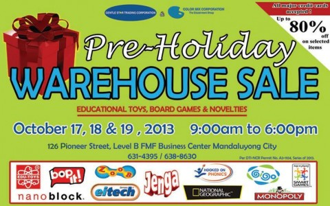 GST & Color Mix Corporation's Pre-Holiday Toy Warehouse Sale October 2013