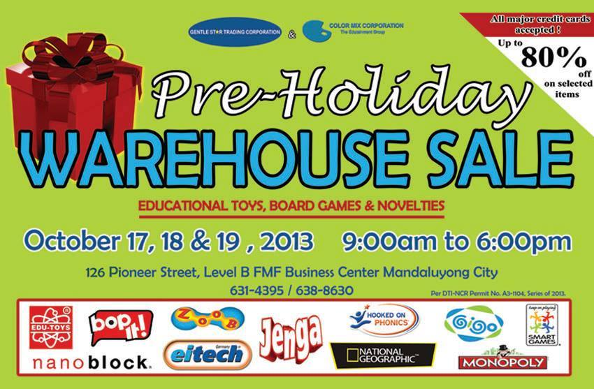 GST & Color Mix Pre-Holiday Toy Warehouse Sale October 2013