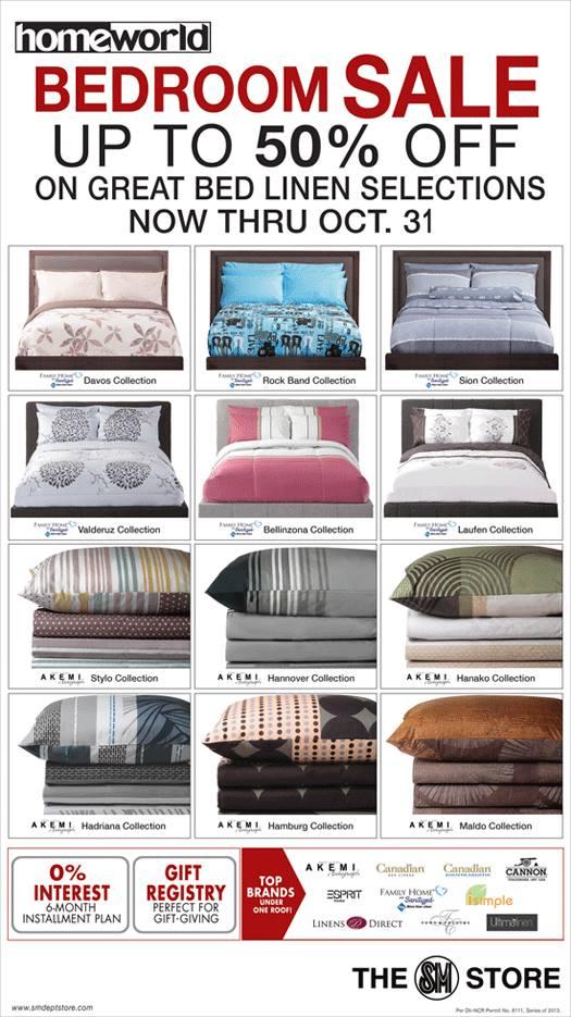 Homeworld Bedroom Linen Sale October 2013