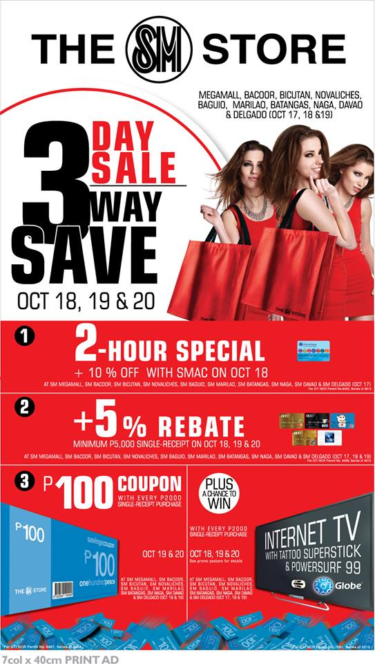 The SM Store 3-Day Sale, 3-Way Save October 2013