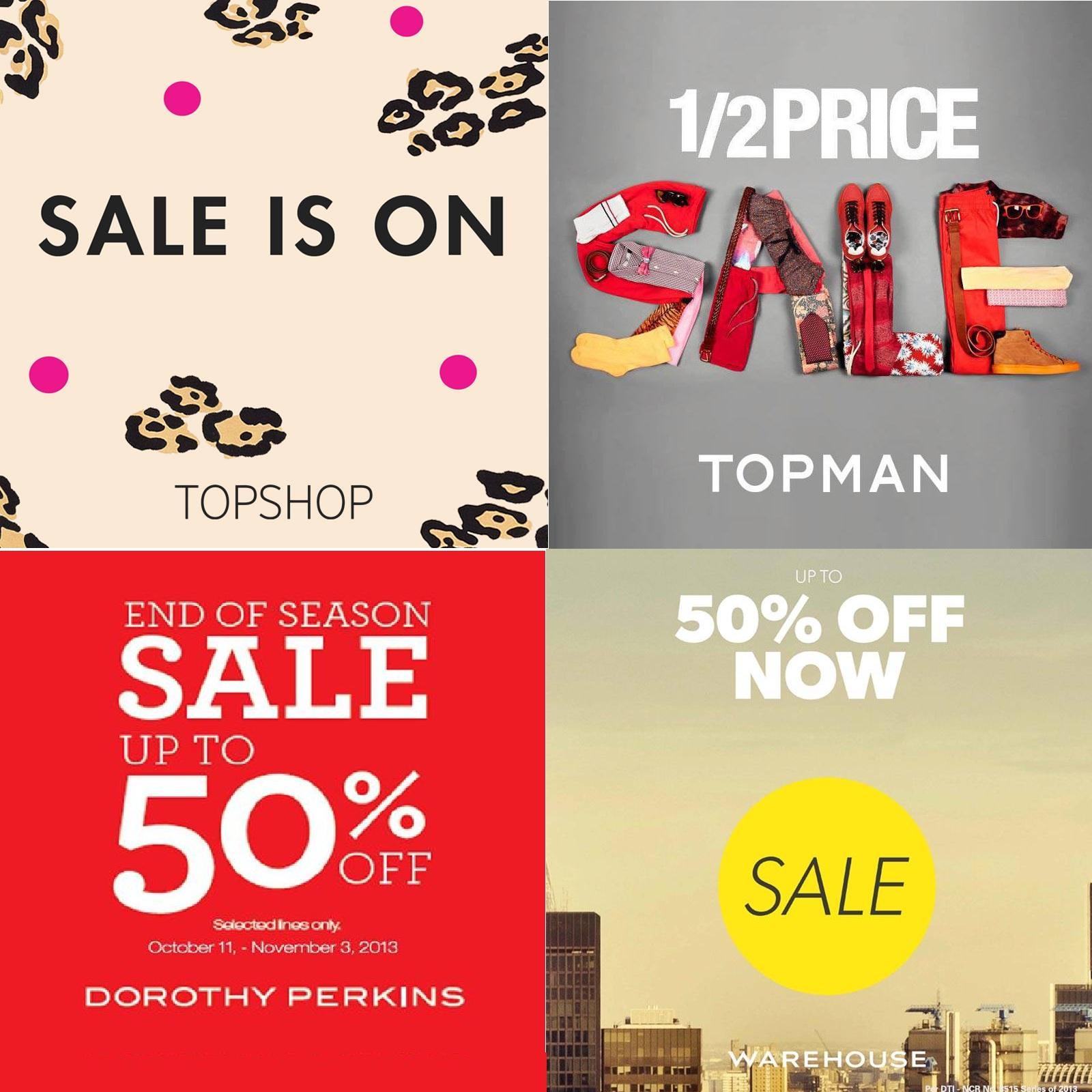 Topshop, Topman, Dorothy Perkins, Warehouse Mid-Season Sale October - November 2013